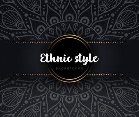 Black decor ethnic pattern background vector 03