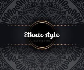 Black decor ethnic pattern background vector 04