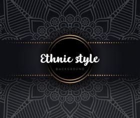 Black decor ethnic pattern background vector 05