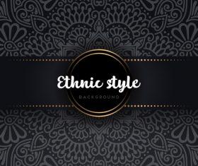 Black decor ethnic pattern background vector 06
