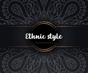 Black decor ethnic pattern background vector 07