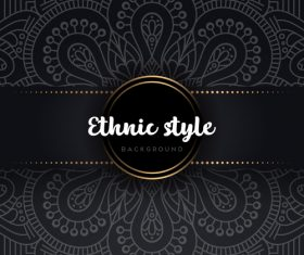 Black decor ethnic pattern background vector 08