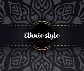 Black decor ethnic pattern background vector 09