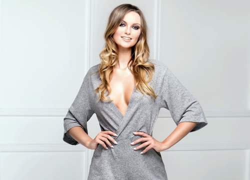 Blonde fashionable woman posing in studio Stock Photo 04