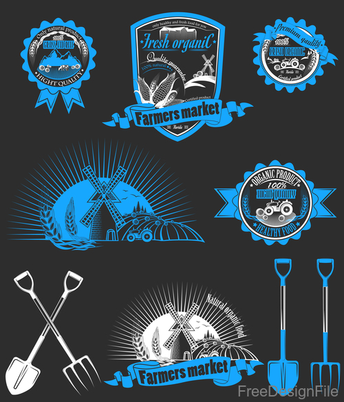 Blue farm badge with labels design vector