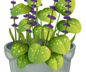 Blue with purple flower illustration vector