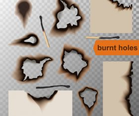 Burnt holes effect illustration vector 08