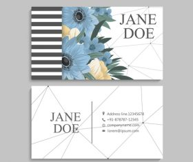 Business card template with blue flower vectors 01