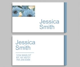 Business card template with blue flower vectors 03