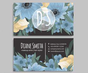 Business card template with blue flower vectors 05