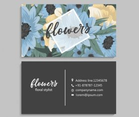 Business card template with blue flower vectors 06