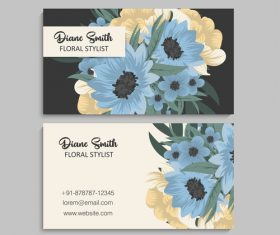 Business card template with blue flower vectors 07