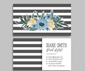 Business card template with blue flower vectors 08
