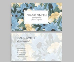 Business card template with blue flower vectors 09