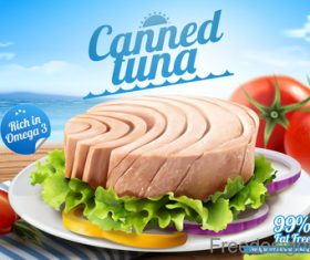 Canned tuna poster vector design 02