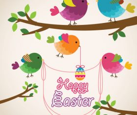 Cartoon birds with easter card vectors 01