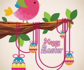 Cartoon birds with easter card vectors 02