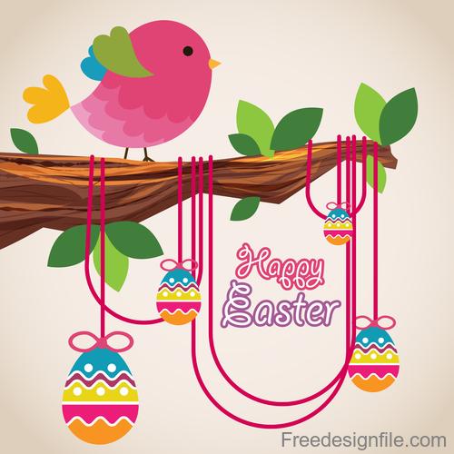 Cartoon birds with easter card vectors 02