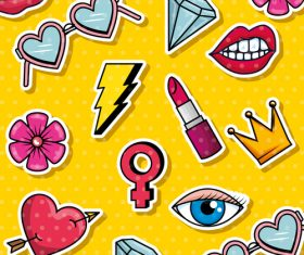 Cartoon fashion elements pattern vector