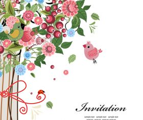 Cartoon floral invitation card vector