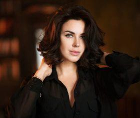 Charming black short hair woman portrait Stock Photo