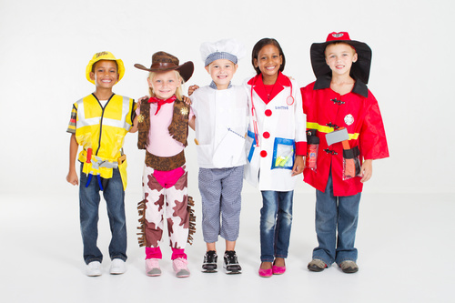Children of different costumes and skin colors Stock Photo