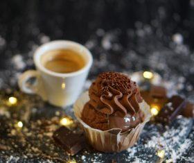 Chocolate cake coffee Stock Photo
