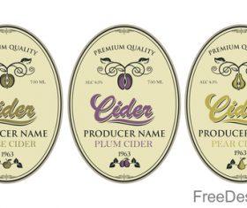 Cider labels with sticker vector design 07