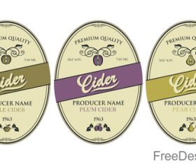 Cider labels with sticker vector design 08