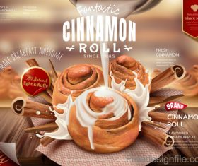 Cinnamon roll advertising poster vectors 01