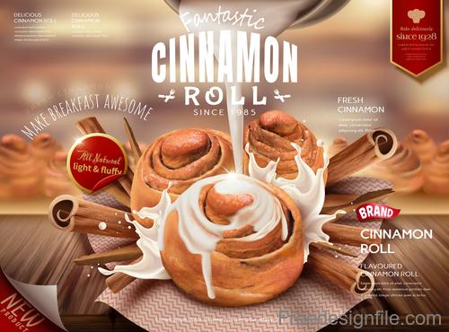 Cinnamon roll advertising poster vectors 01