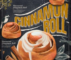 Cinnamon roll menu template vector