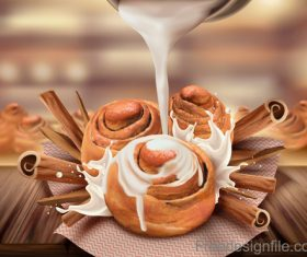 Cinnamon roll with milk design vector