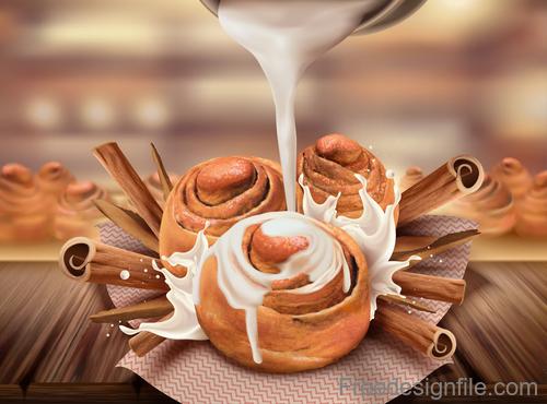 Cinnamon roll with milk design vector