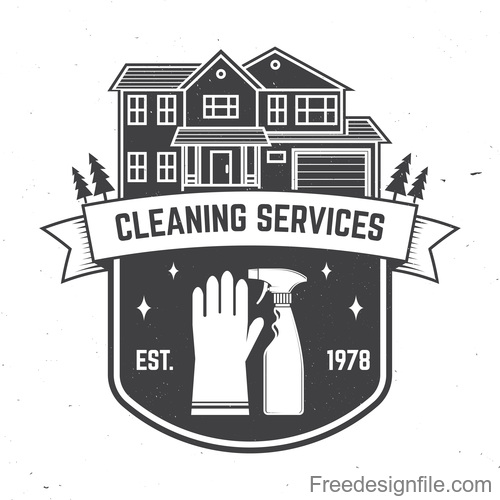Cleaning services labels black vector