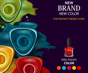 Color nail polish advertisement poster template vector 01