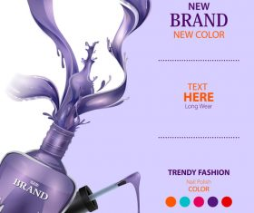 Color nail polish advertisement poster template vector 02