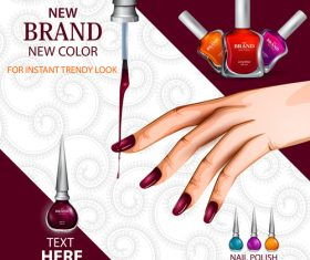 Color nail polish advertisement poster template vector 03