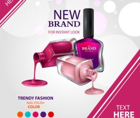 Color nail polish advertisement poster template vector 04