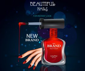 Color nail polish advertisement poster template vector 05