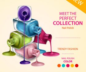 Color nail polish advertisement poster template vector 06