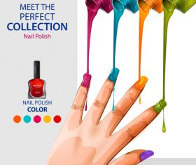 Color nail polish advertisement poster template vector 08