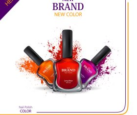 Color nail polish advertisement poster template vector 09