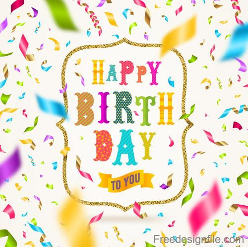 Colored confetti with birthday card design vector