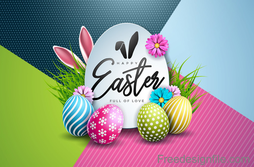 Colored egg with easter card design vectors