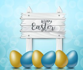 Colored egg with easter wooden board background vector