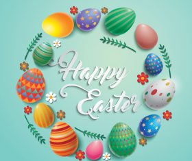 Colored eggs with easter frame vector