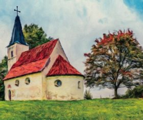 Country chapel watercolor Stock Photo