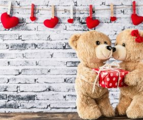Couple teddy bear plush toy Stock Photo