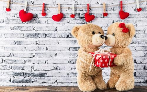 Couple teddy bear plush toy Stock Photo